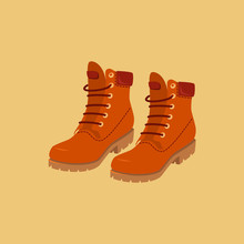 Mustard Hiking Boots. Vector Isolated Object.