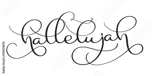 Photographie Hallelujah text on white background