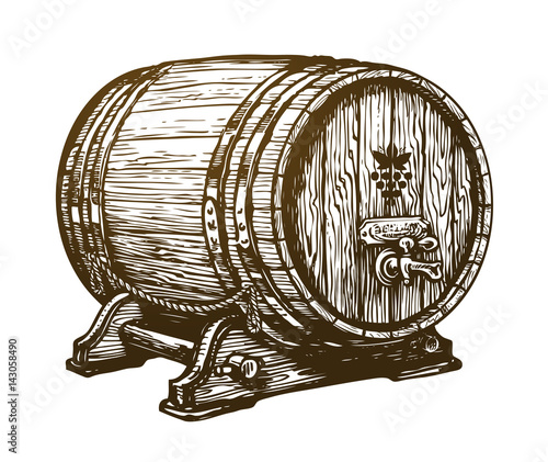 Valokuvatapetti Hand drawn wooden wine cask