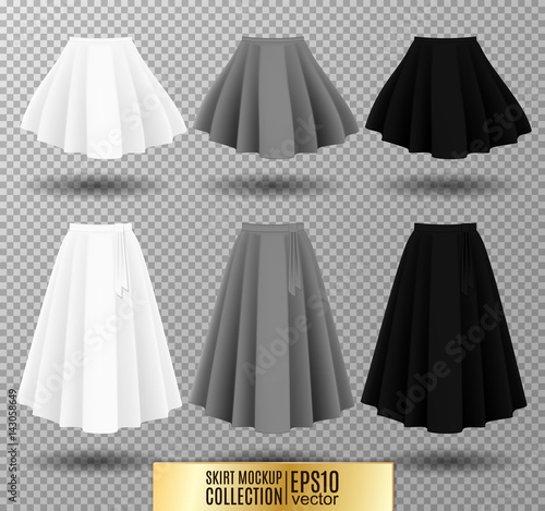 Photo Vector illustration of different model skirt on transparent background