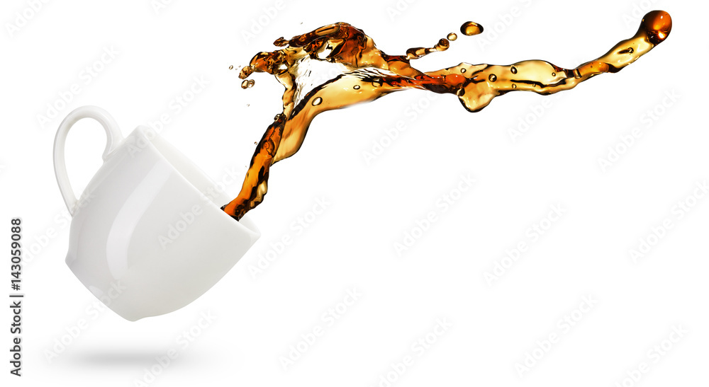 coffee spilling out of a mug isolated on white background