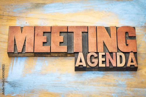 meeting agenda banner in letterpress wood type Canvas Print