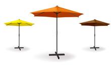 Set Of Three Umbrellas Are Different Colors Orange, Yellow, Dark Orange. Vector Illustration For Beach, Advertising Or Cafe