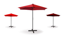 Set Of Three Red Umbrellas. Vector Illustration For Beach, Advertising Or Cafe