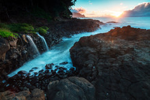Sunset Along The Queens Bath Area Of Kauai, Hawaii