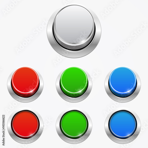 Fotografía  Set of 3d round web buttons In the pressed and not pressed position, isolated on