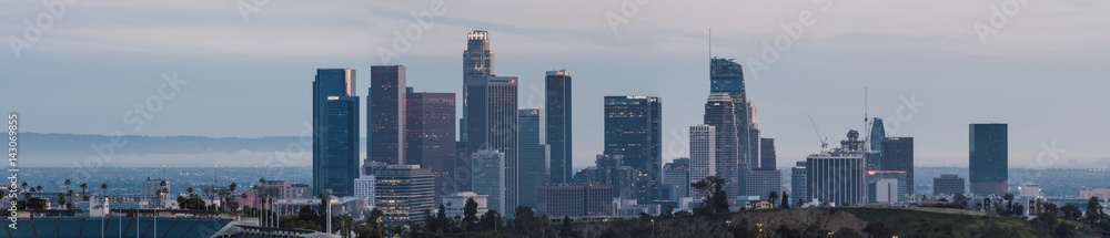 Los Angeles downtown skyline sunset, California, USA