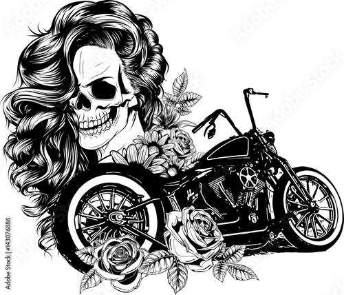 Fototapeta donna su moto