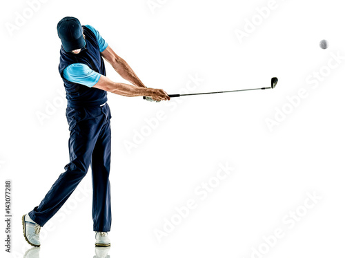 Poster Golf one caucasian man golfer golfing in studio isolated on white background