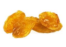 Sweet Yellow Raisins Isolated On A White Background, Closeup