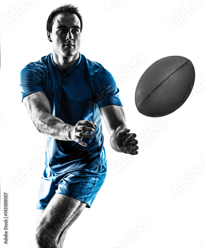 one caucasian rugby man player silhouette isolated on white background