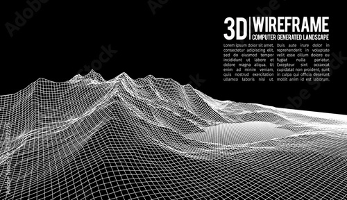 Photo sur Toile Noir Abstract vector wireframe landscape background. Cyberspace grid. 3d technology wireframe vector illustration. Digital wireframe landscape for presentations .