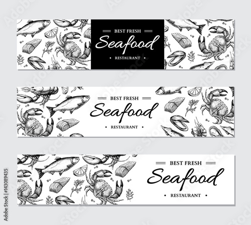 Photo  Seafood banner vector template set