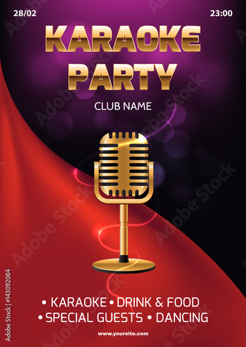 karaoke party invitation flyer template red curtain on the abstract