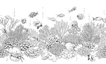 Coral Reef And Fishes Pattern