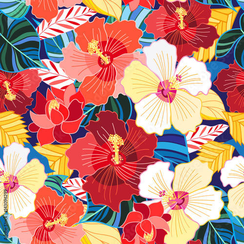 Seamless pattern of hibiscuses - 143096299