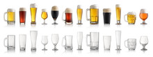 Set Of Various Full And Empty Beer Glasses. Isolated On White Background