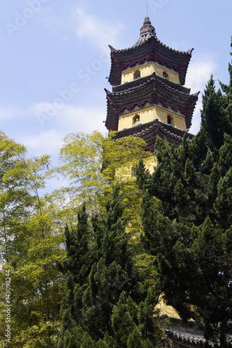 Fotografering  Pagode, Ayuwang-Kloster, Ningbo, China