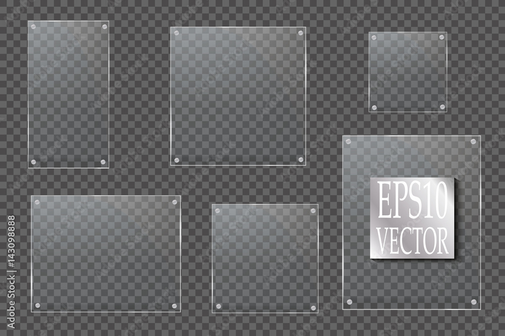 Fototapeta Glass plates are installed. Vector glass banners on a transparent background. Glass. Glass paintings. Color frames.