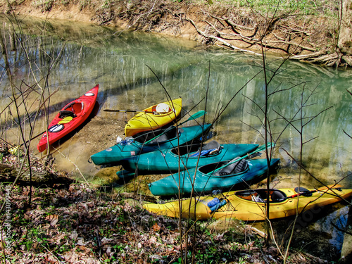 Fotografie, Obraz  Six Kayaks Lined Up along the creek red blue yellow