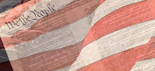 Preamble Of The Constitution Of The United States With US Flag Texture
