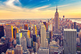 Fototapeta Nowy Jork - Aerial view of New York City Manhattan at sunset