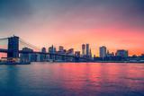 Fototapeta Kuchnia - Brooklyn bridge and Manhattan at sunset, New York City