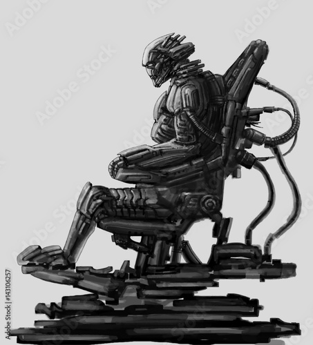 Fotografie, Obraz  Dark lord sits in suit on his iron throne