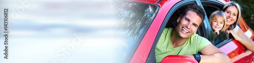 Fotografia, Obraz  Family in red car