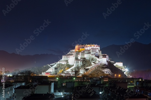 the potala palace at night Tableau sur Toile
