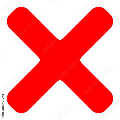 Red Cross Symbol Icon As Delete Remove Fail Failure Or Incorrect