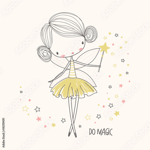 Fotografie, Tablou  Cute little fairy. Nursery vector  illustration