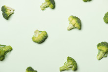 Modern Style Of The Broccoli Isolated On Green Background.
