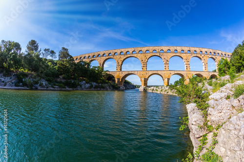 The aqueduct Pont du Gard  was built in Roman times Canvas Print