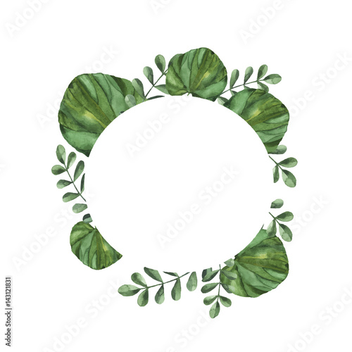 Decorative Border With Green Branches Green Leaves On White