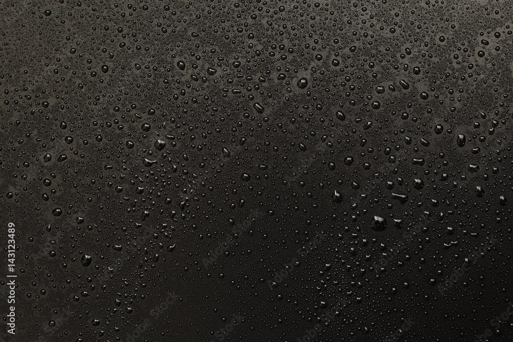 Fototapeta water drops on black background. Macro.