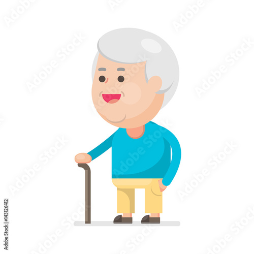 7c8e704c2 Happy cute old man smiling, Grandfather with walking stick Portrait ...