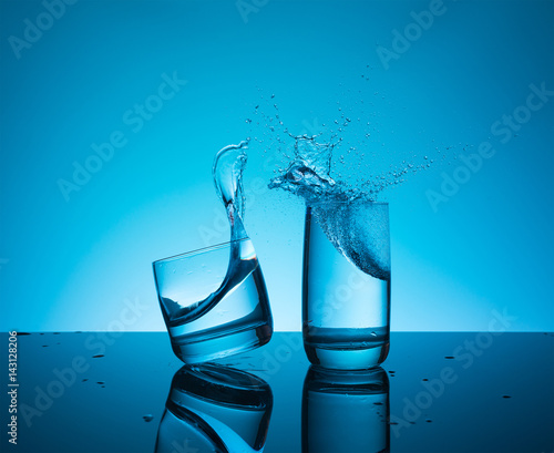 Staande foto Water Сreative splashing water in the glass