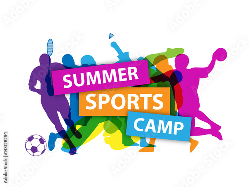 SUMMER SPORTS CAMP Banner with sports silhouettes Fototapet