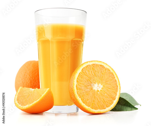 Staande foto Sap Orange juice and slices