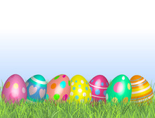 Easter Eggs In Green Grass. Happy Easter Vector Illustration Background