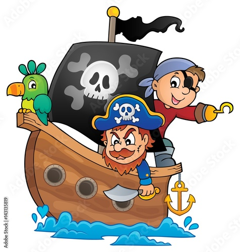 Foto op Canvas Piraten Pirate boat theme 1
