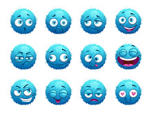 Funny Blue Round Characters Set.