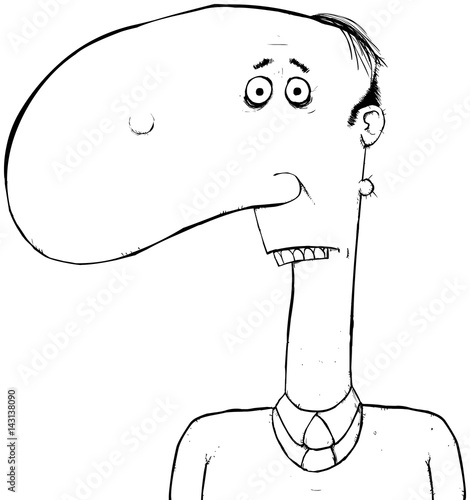 Black And White Outline Man With Big Nose Cartoon Character