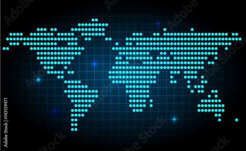 Futuristic world map made with dots with spot lights on dark futuristic world map made with dots with spot lights on dark background gumiabroncs Images