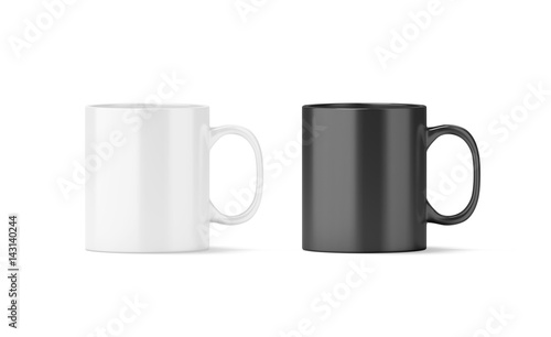 091894e0903 Blank black and white glass mug mockup isolated, 3d rendering. Clear ...
