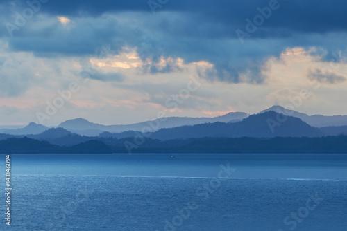 Foto op Aluminium Heuvel Layers of hill at sunset