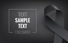 Realistic Black Awareness Ribbon, Isolated On White.  Mourning And Melanoma Symbol. Vector Illustration