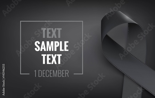 Foto Realistic black awareness ribbon, isolated on white