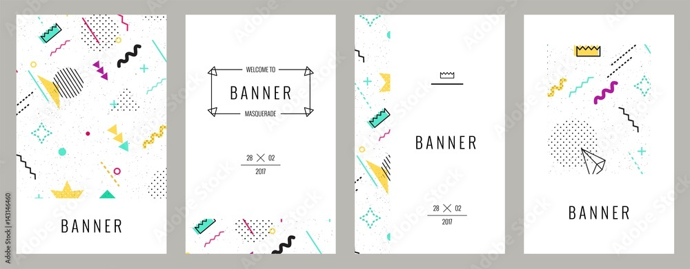 Fototapeta Trendy memphis cards with abstract seamless pattern.  Hipster poster, juicy, bright color background. Vector illustration